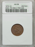 Indian Cents: , 1870 1C AU58 ANACS. DDO, FS-008.6 FND-006. NGC Census: (46/154).PCGS Population (45/79). Mintage: 5,275,000. Numismedia Ws...