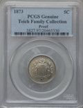 Proof Shield Nickels, 1873 5C Closed 3 PCGS Genuine. Proof. The PCGS number ending in .97suggests environmental damage as the reason, or per...