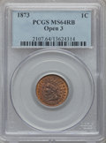 Indian Cents: , 1873 1C Open 3 MS64 Red and Brown PCGS. PCGS Population (202/58).NGC Census: (50/62). Mintage: 11,676,500. Numismedia Wsl....