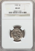 Buffalo Nickels: , 1920 5C MS65 NGC. NGC Census: (108/31). PCGS Population (228/118).Mintage: 63,093,000. Numismedia Wsl. Price for problem f...