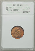 Proof Lincoln Cents: , 1910 1C PR63 Red and Brown ANACS. Matte Proof. NGC Census:(16/107). PCGS Population (31/166). Mintage: 4,118. Numismedia W...
