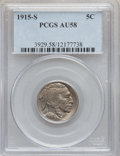 Buffalo Nickels: , 1915-S 5C AU58 PCGS. PCGS Population (99/576). NGC Census:(53/403). Mintage: 1,505,000. Numismedia Wsl. Price for problem ...