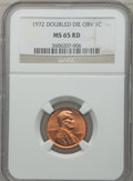 Lincoln Cents: , 1972 1C Doubled Die Obverse MS65 Red NGC. NGC Census: (556/180).PCGS Population (1223/519). Mintage: 75,000. Numismedia Ws...