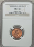 Lincoln Cents: , 1983 1C Doubled Die Reverse MS64 Red and Brown NGC. PCGS Population(68/11). Numismedia Wsl. Price for ...