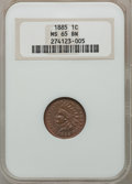 Indian Cents: , 1885 1C MS65 Brown NGC. NGC Census: (55/15). PCGS Population(15/2). Mintage: 11,765,384. Numismedia Wsl. Price for problem...