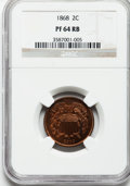 1868 2C PR64 Red and Brown NGC. NGC Census: (40/68). PCGS Population: (88/78). CDN: $560 Whsle. Bid for problem-free NGC...