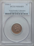 Indian Cents: , 1908-S 1C MS64 Brown PCGS. PCGS Population (50/3). NGC Census:(78/20). Mintage: 1,115,000. Numismedia Wsl. Price for probl...