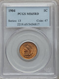 Indian Cents: , 1904 1C MS65 Red PCGS. PCGS Population (195/64). NGC Census:(128/26). Mintage: 61,328,016. Numismedia Wsl. Price for probl...