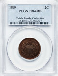 Proof Two Cent Pieces: , 1869 2C PR64 Red and Brown PCGS. PCGS Population (91/71). NGCCensus: (46/79). Mintage: 600. Numismedia Wsl. Price for prob...