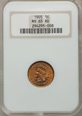 Indian Cents: , 1905 1C MS65 Red NGC. NGC Census: (186/61). PCGS Population(146/40). Mintage: 80,719,160. Numismedia Wsl. Price for proble...