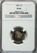 Proof Liberty Nickels: , 1890 5C PR64 NGC. NGC Census: (156/109). PCGS Population (220/84).Mintage: 2,740. Numismedia Wsl. Price for problem free N...