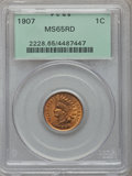 Indian Cents: , 1907 1C MS65 Red PCGS. PCGS Population (190/35). NGC Census:(94/14). Mintage: 108,138,616. Numismedia Wsl. Price for probl...