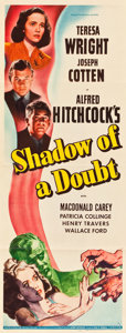 "Movie Posters:Hitchcock, Shadow of a Doubt (Universal, 1943). Insert (14"" X 36"").. ..."