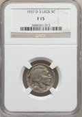 Buffalo Nickels: , 1937-D 5C Three-Legged Fine 15 NGC. NGC Census: (114/5383). PCGSPopulation (256/6026). Mintage: 17,826,000. Numismedia Wsl...