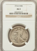 Walking Liberty Half Dollars: , 1916-D 50C AG3 NGC. NGC Census: (0/1494). PCGS Population(32/2045). Mintage: 1,014,400. Numismedia Wsl. Price for problem...