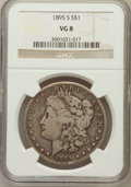 Morgan Dollars: , 1895-S $1 VG8 NGC. NGC Census: (102/1700). PCGS Population(133/2910). Mintage: 400,000. Numismedia Wsl. Price for problem ...