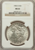 Morgan Dollars: , 1903-O $1 MS63 NGC. NGC Census: (1608/4199). PCGS Population(2806/6675). Mintage: 4,450,000. Numismedia Wsl. Price for pro...