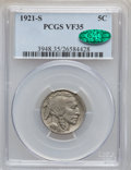 Buffalo Nickels: , 1921-S 5C VF35 PCGS. CAC. PCGS Population (68/582). NGC Census:(32/385). Mintage: 1,557,000. Numismedia Wsl. Price for pro...