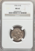Buffalo Nickels: , 1926-D 5C MS62 NGC. NGC Census: (152/361). PCGS Population(199/729). Mintage: 5,638,000. Numismedia Wsl. Price for problem...