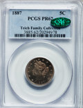 Proof Liberty Nickels: , 1887 5C PR62 PCGS. CAC. PCGS Population (21/622). NGC Census:(15/499). Mintage: 2,960. Numismedia Wsl. Price for problem f...