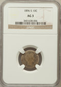 Barber Dimes: , 1896-S 10C AG3 NGC. NGC Census: (0/115). PCGS Population (4/186).Mintage: 575,056. Numismedia Wsl. Price for problem free ...
