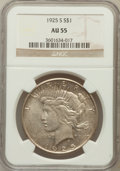 Peace Dollars: , 1925-S $1 AU55 NGC. NGC Census: (128/4457). PCGS Population(147/5898). Mintage: 1,610,000. Numismedia Wsl. Price for probl...