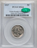 Buffalo Nickels: , 1927 5C MS66 PCGS. CAC. PCGS Population (278/6). NGC Census:(86/10). Mintage: 37,981,000. Numismedia Wsl. Price for proble...