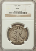 Walking Liberty Half Dollars: , 1916-D 50C Good 4 NGC. NGC Census: (40/1454). PCGS Population(56/1989). Mintage: 1,014,400. Numismedia Wsl. Price for prob...