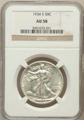 Walking Liberty Half Dollars: , 1934-S 50C AU58 NGC. NGC Census: (107/588). PCGS Population(128/1063). Mintage: 3,652,000. Numismedia Wsl. Price for probl...