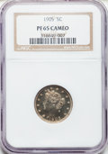 Proof Liberty Nickels: , 1905 5C PR65 Cameo NGC. NGC Census: (2/6). PCGS Population (5/6)....