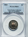Proof Shield Nickels: , 1868 5C PR64 PCGS. PCGS Population (98/63). NGC Census: (59/82).Mintage: 600. Numismedia Wsl. Price for problem free NGC/P...