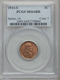 Lincoln Cents: , 1911-S 1C MS64 Red PCGS. PCGS Population (98/69). NGC Census:(33/31). Mintage: 4,026,000. Numismedia Wsl. Price for proble...