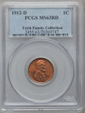 Lincoln Cents: , 1912-D 1C MS63 Red PCGS. PCGS Population (36/316). NGC Census:(10/91). Mintage: 10,411,000. Numismedia Wsl. Price for prob...