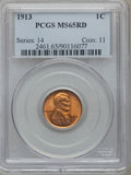 Lincoln Cents: , 1913 1C MS65 Red PCGS. PCGS Population (150/68). NGC Census:(71/18). Mintage: 76,532,352. Numismedia Wsl. Price for proble...