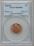 Lincoln Cents: , 1913-D 1C MS64 Red PCGS. PCGS Population (172/115). NGC Census:(85/33). Mintage: 15,804,000. Numismedia Wsl. Price for pro...