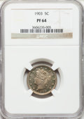 Proof Liberty Nickels: , 1903 5C PR64 NGC. NGC Census: (145/252). PCGS Population (184/221).Mintage: 1,790. Numismedia Wsl. Price for problem free ...