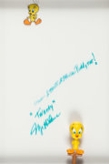 Animation Art:Production Cel, Tweety Bird Production Cel Signed by Mel Blanc (Warner Brothers, c.1950s)....