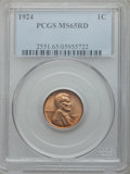 Lincoln Cents: , 1924 1C MS65 Red PCGS. PCGS Population (196/72). NGC Census:(49/28). Mintage: 75,178,000. Numismedia Wsl. Price for proble...