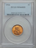 Lincoln Cents: , 1926 1C MS66 Red PCGS. PCGS Population (469/84). NGC Census:(208/24). Mintage: 157,088,000. Numismedia Wsl. Price for prob...