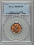 Lincoln Cents: , 1916 1C MS65 Red PCGS. PCGS Population (383/229). NGC Census:(126/33). Mintage: 131,833,680. Numismedia Wsl. Price for pro...