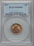 Lincoln Cents: , 1917 1C MS65 Red PCGS. PCGS Population (228/136). NGC Census:(62/23). Mintage: 196,429,792. Numismedia Wsl. Price for prob...
