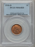 Lincoln Cents: , 1918-D 1C MS64 Red PCGS. PCGS Population (113/34). NGC Census:(30/8). Mintage: 47,830,000. Numismedia Wsl. Price for probl...