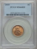 Lincoln Cents: , 1919 1C MS66 Red PCGS. PCGS Population (240/74). NGC Census:(75/11). Mintage: 392,020,992. Numismedia Wsl. Price for probl...