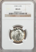 Standing Liberty Quarters: , 1928-S 25C MS65 NGC. NGC Census: (285/139). PCGS Population(438/148). Mintage: 2,644,000. Numismedia Wsl. Price for proble...