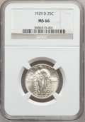 Standing Liberty Quarters: , 1929-D 25C MS66 NGC. NGC Census: (34/1). PCGS Population (39/1).Mintage: 1,358,000. Numismedia Wsl. Price for problem free...