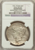 Peace Dollars, 1921 $1 -- Improperly Cleaned -- NGC Details. AU. Ex: High Relief.NGC Census: (175/11114). PCGS Population (313/1284...