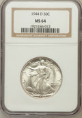 Walking Liberty Half Dollars: , 1944-D 50C MS64 NGC. NGC Census: (1308/3924). PCGS Population(2698/5804). Mintage: 9,769,000. Numismedia Wsl. Price for pr...