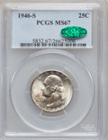 Washington Quarters: , 1946-S 25C MS67 PCGS. CAC. PCGS Population (111/4). NGC Census:(323/3). Mintage: 4,204,000. Numismedia Wsl. Price for prob...