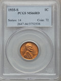 Lincoln Cents: , 1935-S 1C MS66 Red PCGS. PCGS Population (243/7). NGC Census:(254/43). Mintage: 38,702,000. Numismedia Wsl. Price for prob...