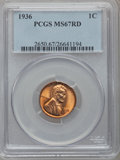 Lincoln Cents: , 1936 1C MS67 Red PCGS. PCGS Population (210/0). NGC Census:(633/1). Mintage: 309,637,568. Numismedia Wsl. Price for proble...